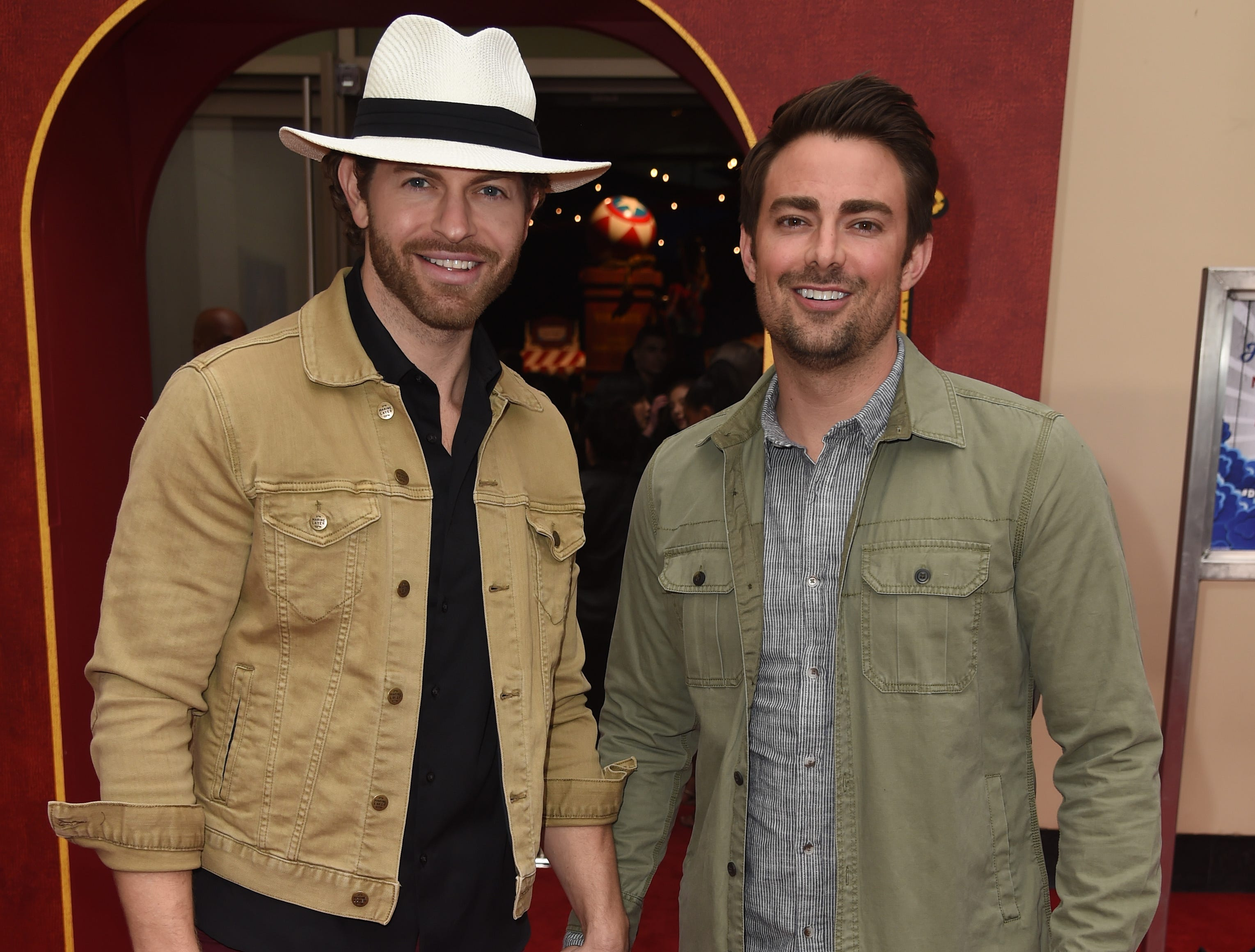 """LOS ANGELES, CALIFORNIA - MARCH 11: (L-R) Jaymes Vaughan and  Jonathan Bennett attend the premiere of Disney's """"Dumbo"""" at El Capitan Theatre on March 11, 2019 in Los Angeles, California. (Photo by Kevin Winter/Getty Images) ORG XMIT: 775305574 ORIG FILE ID: 1135219115"""