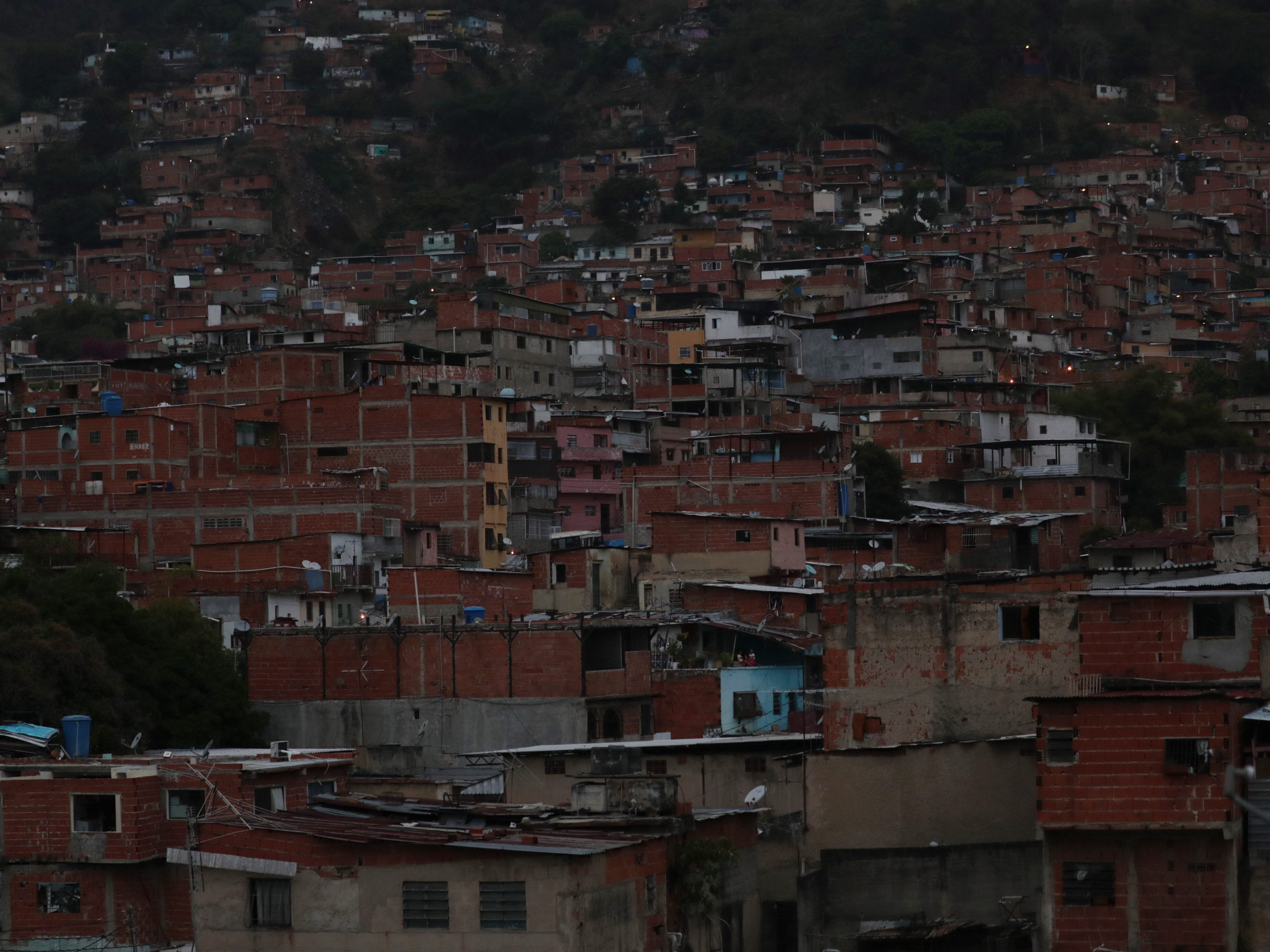 A view of a neighborhood without electricity in Caracas, March 11, 2019.