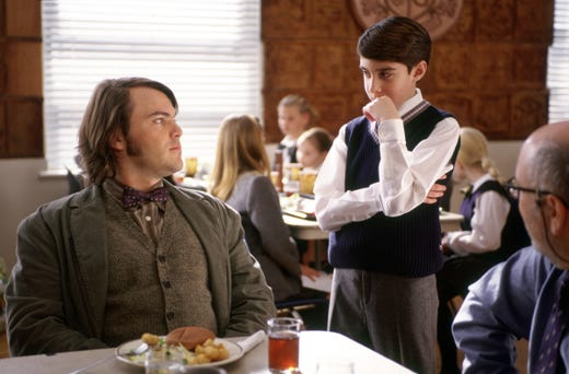 Jack Black and Joey Gaydos Jr., in a scene from the motion picture The School of Rock. --- DATE TAKEN: rec'd 09/03  By Andrew Schwartz   Paramount Pictures        HO      - handout ORG XMIT: ZX5960