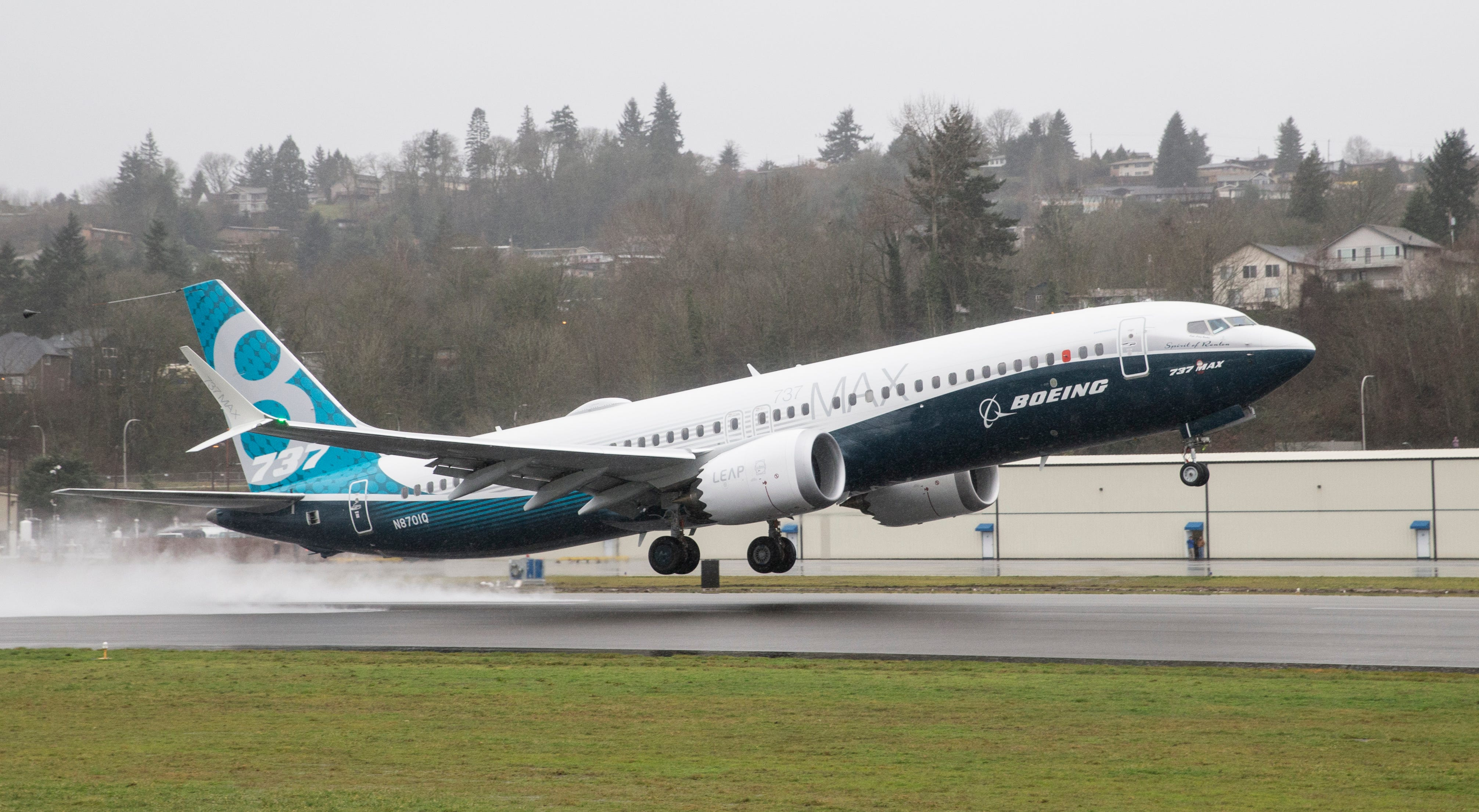 RENTON, WA - JANUARY 29: A Boeing 737 MAX 8 airliner lifts off for its first flight on January 29, 2016 in Renton, Washington. The 737 MAX is the newest of Boeing's most popular airliner featuring more futel efficient engines and redesigned wings. (Photo by Stephen Brashear/Getty Images) ORG XMIT: 602036771 ORIG FILE ID: 507411876
