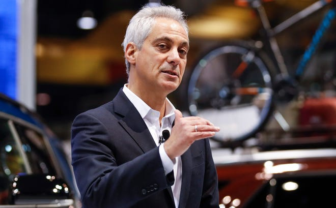 Chicago Mayor Rahm Emanuel speaks at the Chicago Auto Show at McCormick Place in Chicago, Feb. 7, 2019.