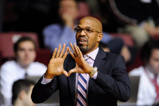Pennsylvania Quakers head coach Jerome Allen during the second half against the Saint Joseph's Hawks at the Palestra. Penn defeated St. Joseph's 84-80.