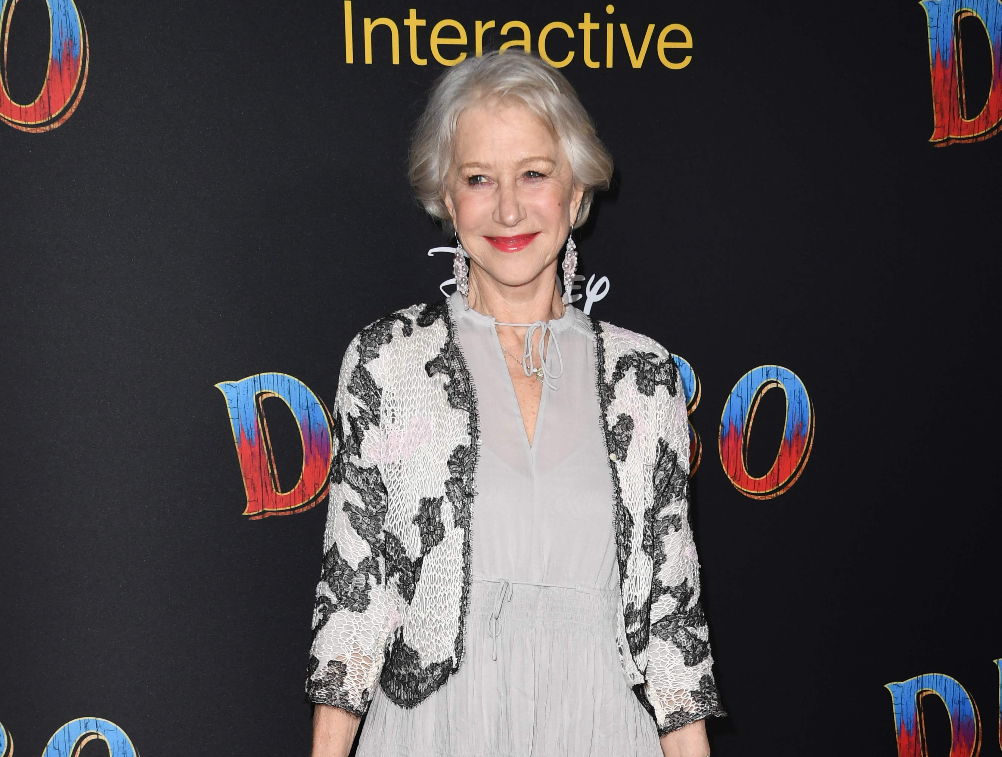 """British actress Helen Mirren arrives for the world premiere of Disney's """"Dumbo"""" at El Capitan theatre on March 11, 2019 in Hollywood. (Photo by Robyn Beck / AFP)ROBYN BECK/AFP/Getty Images ORG XMIT: Premiere ORIG FILE ID: AFP_1EI15H"""