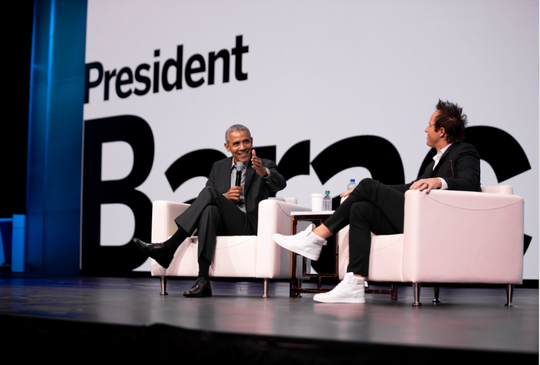 Former President Barack Obama on March 6, 2019, at the Qualtrics X4 Summit in Salt Lake City.