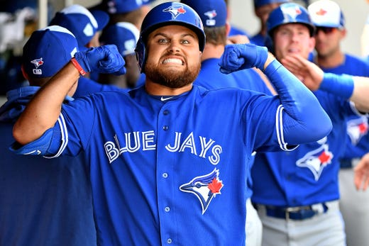March 10: Blue Jays first baseman Rowdy Tellez celebrates after his two run home run.