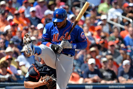 March 11: Mets second baseman Robinson Cano reacts to an inside pitch.