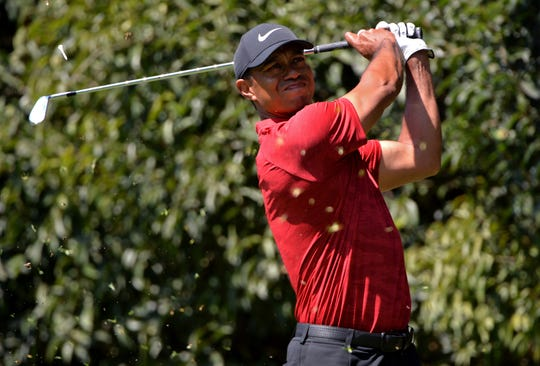 Tiger Woods plays a shot during the final round of the WGC - Mexico Championship.