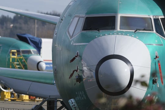 A Boeing 737 MAX 8 is pictured outside the factory on March 11, 2019 in Renton, Washington. Boeing's stock dropped today after an Ethiopian Airlines flight was the second deadly crash in six months involving the Boeing 737 Max 8, the newest version of its most popular jetliner.
