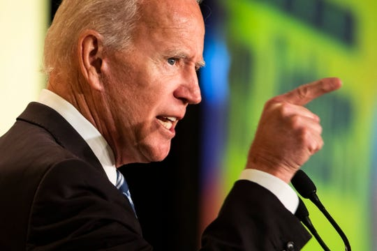 Former Vice President Joe Biden addresses the International Association of Fire Fighters conference in Washington, D.C., on Tuesday.