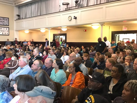 Capacity crowd in council chambers at historic Anderson County Courthouse for hearing in Duke Energy's proposed rate increase Wednesday, March 13, 2019.