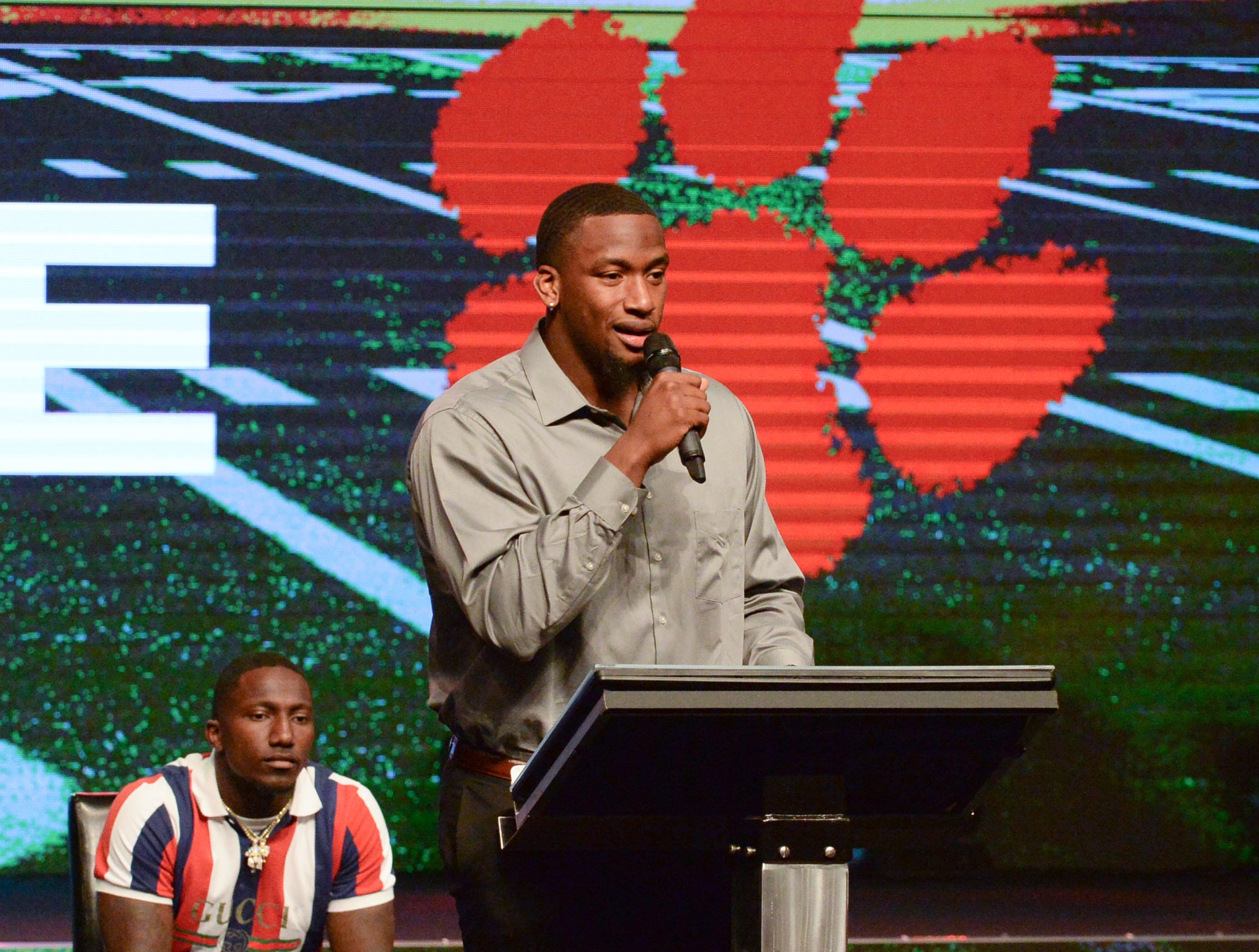 Clelin Ferrell, former Clemson football player speaks during the Coaches 4 Character event at Relentless Church in Greenville Tuesday.