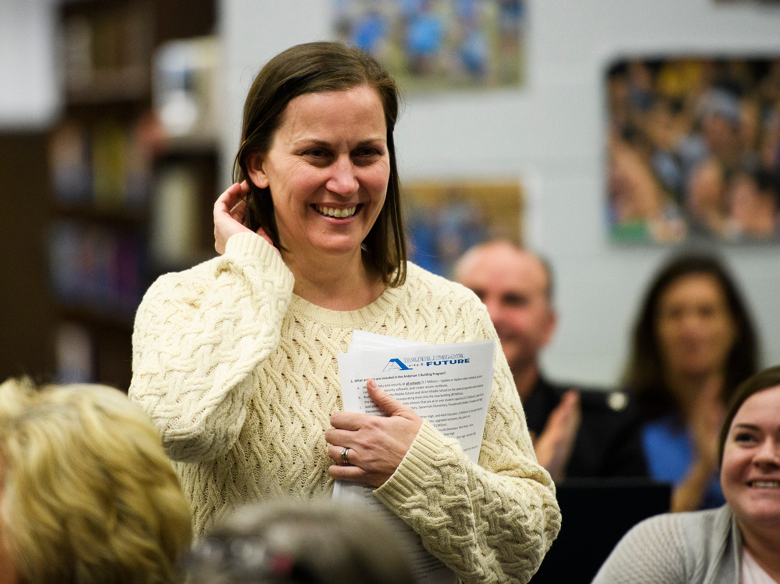 Tamara Cox is named as one of five finalists for South Carolina Teacher of the Year at Wren High School Wednesday, March 13, 2019.
