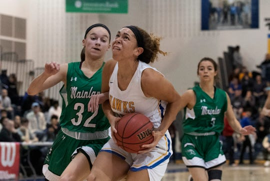 Manchester's Dakota Adams works in under the basket during first half action.  Manchester Girls Basketball vs Mainland in Tournament of Champions opening round game in Toms River on March 12, 2019