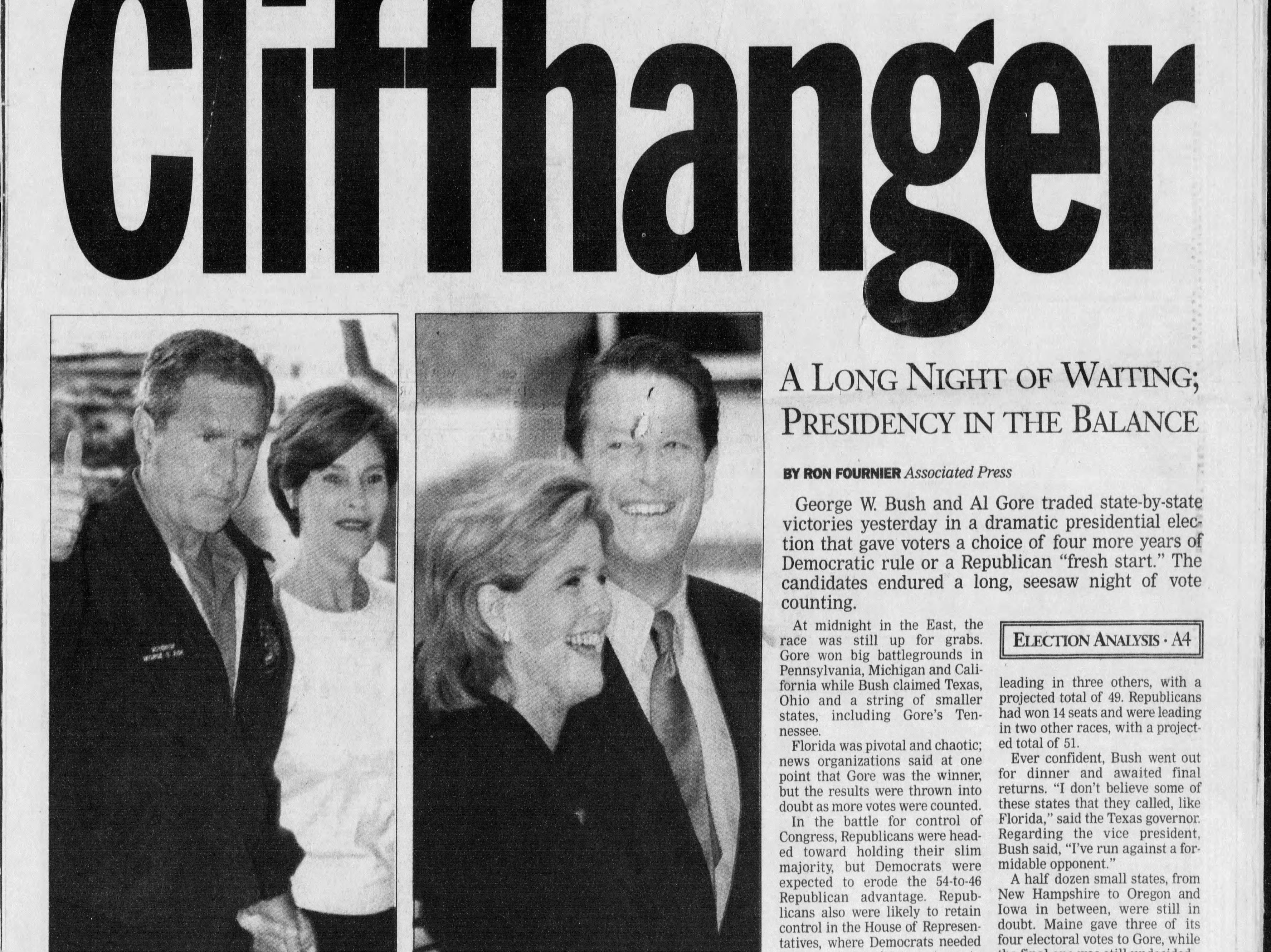 Who won? The nation plunges into electoral chaos after Election Day produces no winner in the presidential contest between Vice President Al Gore and Texas Gov. George W. Bush in this edition from Wednesday, Nov. 8, 2000.