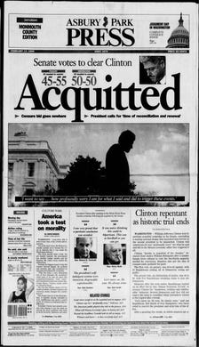 President Bill Clinton is acquitted in the U.S. Senate of the impeachment charges alleged two months earlier in the U.S. House of Representatives in this edition from Saturday, Feb. 13, 1999.
