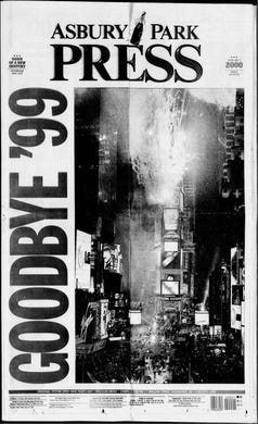 The front page of the Asbury Park Press on Saturday, Jan. 1, 2000.