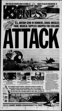"""The United States and United Kingdom begin the """"war on terror"""" in response to the 9/11 terrorist attacks with a military assault on Afghanistan where Al-Qaeda is being given asylum by the Taliban government. This edition is from Monday, Oct. 8, 2001."""