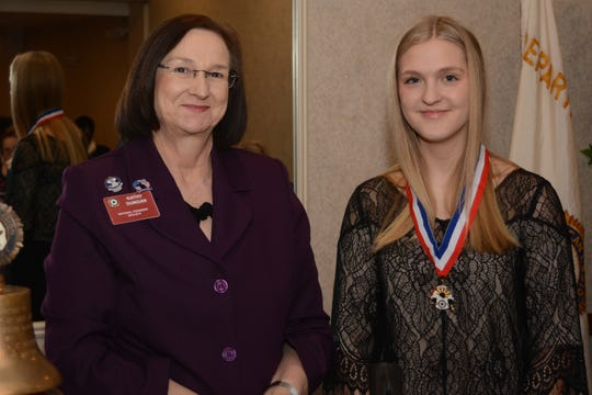 Claire Taylor (right) with Kathy Dungan, national president of American Legion Auxiliary