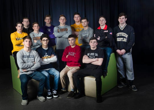 2019 All-Shore Wrestling Team - Front Row - Shane Reitsma, Nick Boggiano, Hunter Gutierrez, Michael Conklin. Back Row - Dean Peterson, Bill Borowsky,