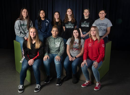 2019 All Shore Girls Wrestling Team - Sitting - Madison Pesavage, Mia Lazaurs, Jess Johnson, Brandi Rado. 