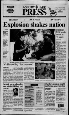 The Oklahoma City Bombing kills 168 people - including 19 children - and injures about 850 others in this edition from Thursday, April 20, 1995. This time, the terrorists were homegrown.