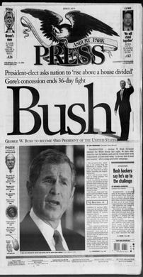 """The Asbury Park Press rolls out its election masthead for this Thursday, Dec. 14, 2000 special edition after the contested race for president ends with Vice President Al Gore conceding defeat and President-elect George W. Bush promising to """"rise above a house divided."""""""