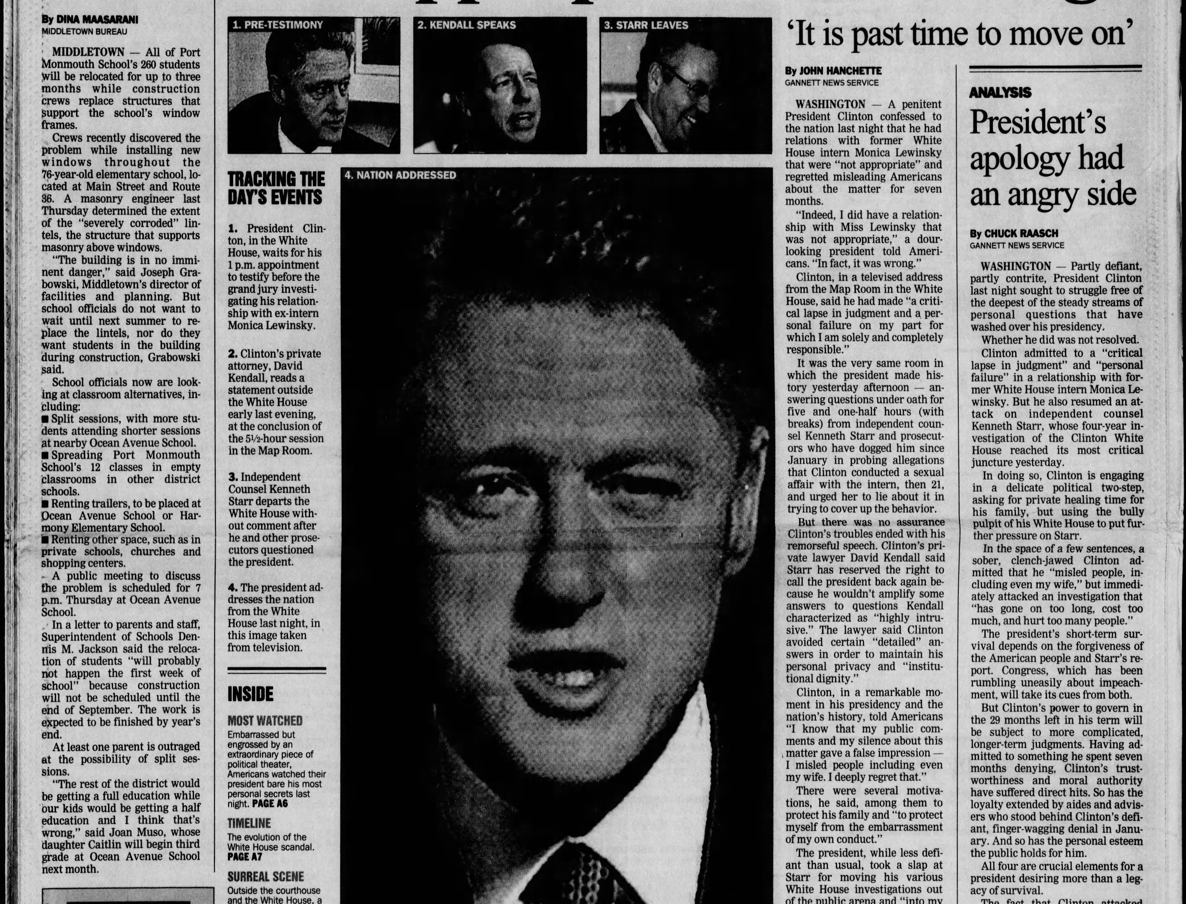 """In a nationally televised address the night before, President Bill Clinton admitted that he had a relationship with a 22-year-old White House intern that was """"not appropriate"""" in this edition from Tuesday, Aug. 18, 1998."""
