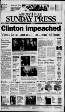 President Bill Clinton becomes only the second president of the United States to be impeached over allegations he lied and obstructed justice to conceal an extramarital affair with a 22-year-old White House intern in this edition from Sunday, Dec. 20, 1998.