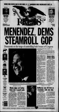 With the Iraq War going badly and an unpopular President George W. Bush getting the blame, Democrats win control of both houses of Congress in the midterm elections as reported in this edition from Wednesday, Nov. 8, 2006.