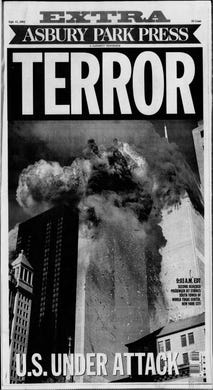 The first bulldog edition of the Asbury Park Press since the assassination of President John F. Kennedy 38 years earlier, is published on the afternoon of Tuesday, Sept. 11, 2001.