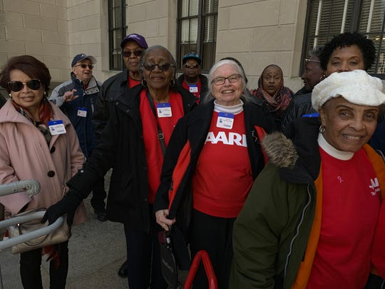 AARP New Jersey protested proposed utility rate hikes on Wednesday, March 13, 2019 at the State House Annex in Trenton.
