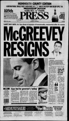 Friday, Aug. 13, 2004: The nation is shocked when Gov. James E. McGreevey announces at a news conference that he is gay and will resign as New Jersey's chief executive due to the scandalous circumstances of an extramarital affair he was having with a former aide that had opened him to blackmail and  impaired his ability to govern.