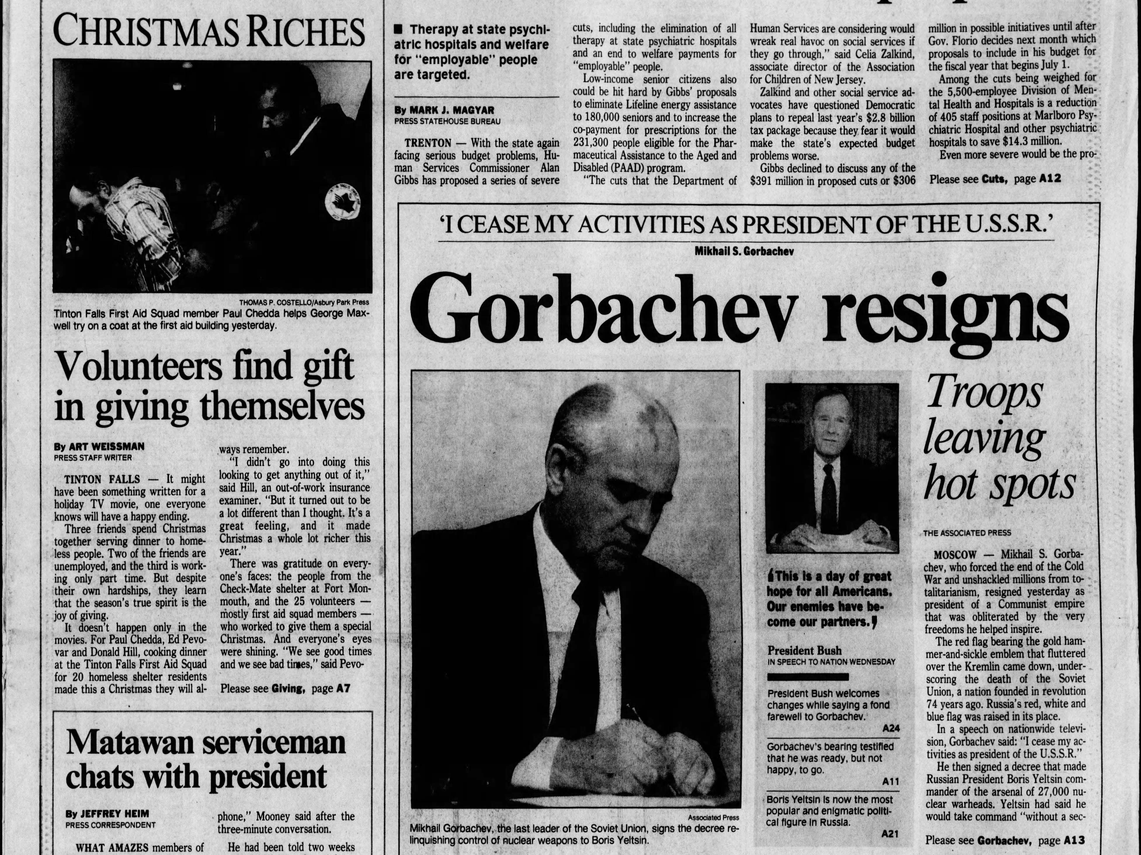 The Communist empire that was the Soviet Union for 69 years, ceases to exist on this Thursday, Dec. 26, 1991 when its last leader Mikhail Gorbachev resigns.