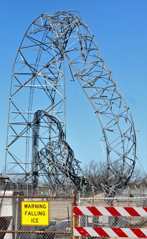 There is no immediate danger of falling ice but more of falling metal objects after the Texas Department of Transportation tower in northwest Abilene was taken down by high winds overnight Tuesday. The result was a sort of roller-coaster look to the metal structure.