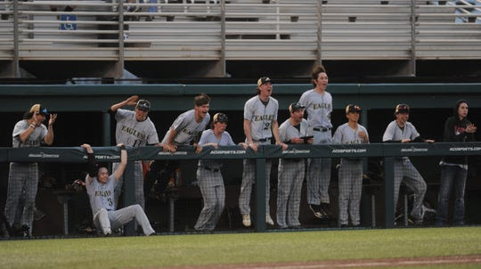 Abilene High players celebrate after a balk call against Richland on Tuesday, March 12, 2019, at Abilene Christian's Scott Field.