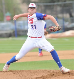 Cooper starting pitcher Braiden Hill throws a pitch in the third inning against Wichita Falls High. Hill tossed a three-hitter in the Cougars' 6-1 win over Coyotes on Tuesday, March 12, 2019, at Cougar Field.