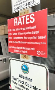 Rates are posted at the entrance to the College Street deck.
