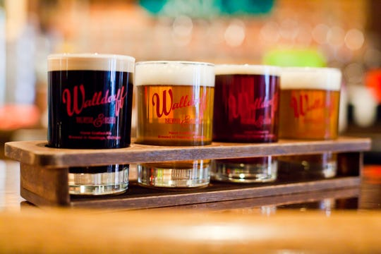 A flight of beers from the Walldorff Brewpub & Bistro in Hastings