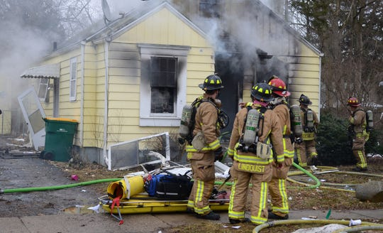 Firefighters were at the scene of a house fire on Battle Creek's south side just after noon on Wednesday.
