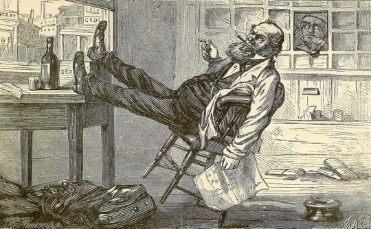 A Thomas Nast illustration for one of David Locke's books.