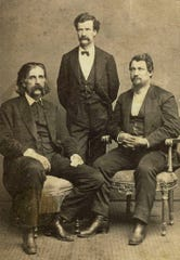 Three humorists from the 19th century: from left, Josh Billings, Mark Twain and David Locke.