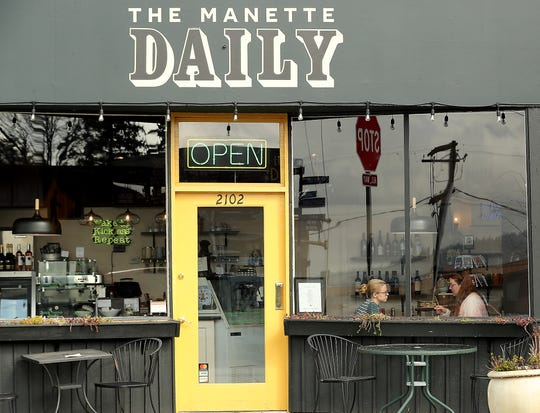 Karen Sawyer-Meehan and Katie Albright are framed in the front window as they enjoy their lunch at The Manette Daily in Bremerton. In addition to offering soup and sandwiches during the week, the restaurant has weekend brunch.