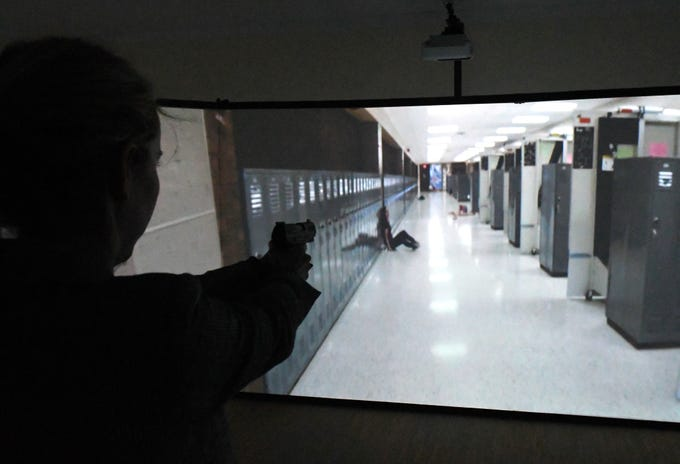 The MILO 300 Theater simulator is set up at the Brevard County Sheriff's Office Special Operations facility in Sharpes. It is part of a program to help train school guardians. Those using the system are armed with simulated handguns and immersed in a 300-degree video simulating an active-shooter situation in a school, office and other locations.