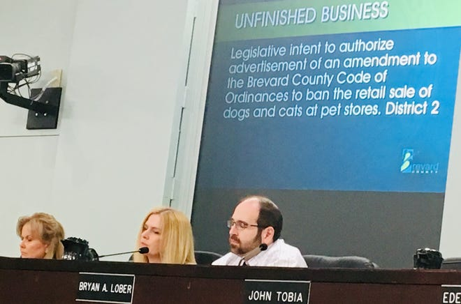 Brevard County Commissioner Rita Pritchett, Commission Chair Kristine Isnardi and Commission Vice Chair Bryan Lober listen to speakers commenting on Lober's proposed ordinance to regulate pet store sales of dogs and cats.