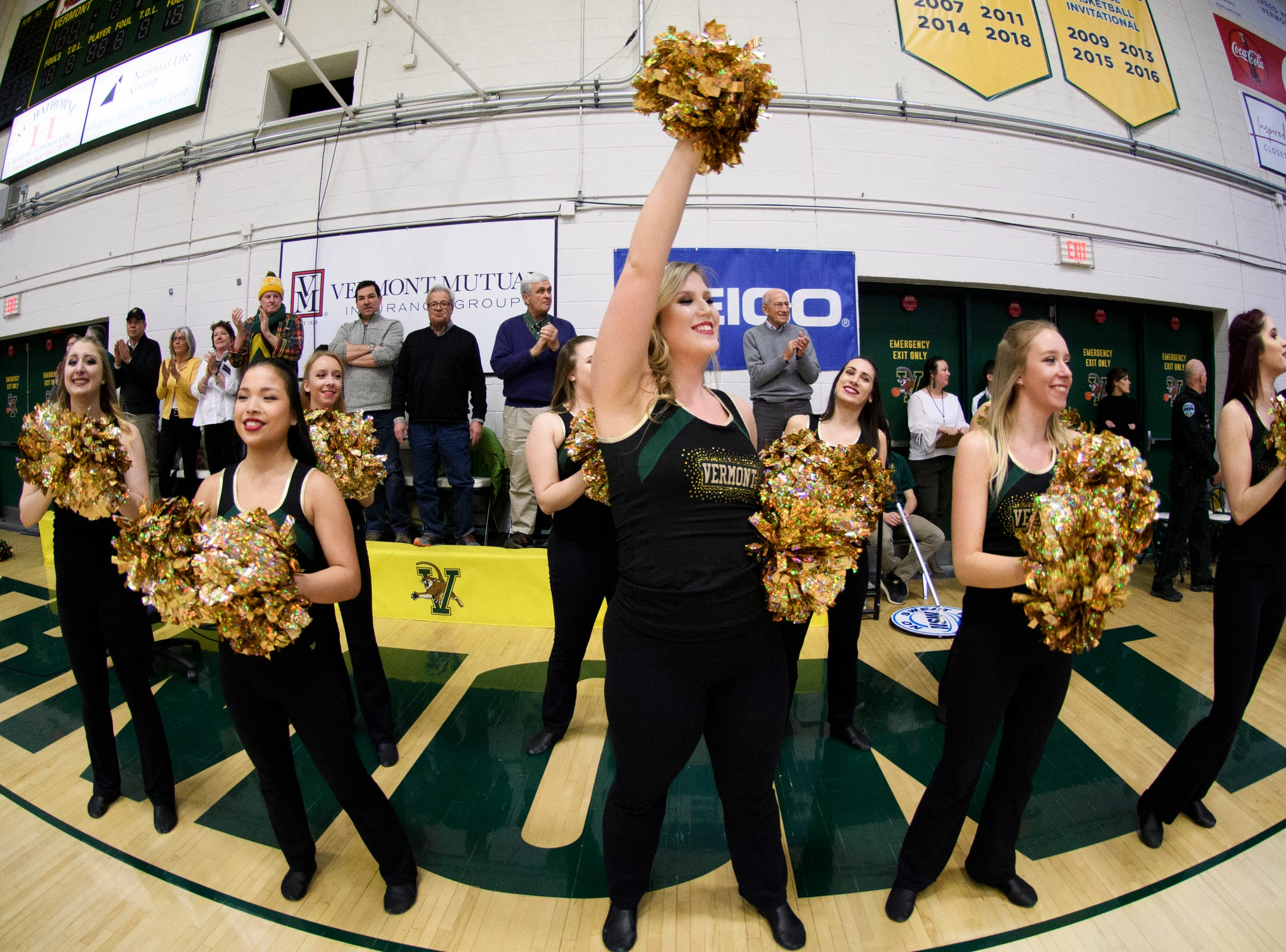 The UVM dance team during the America East semifinal game between the Binghamton Bearcats and the Vermont Catamounts at Patrick Gym on Tuesday March 12, 2019 in Burlington, Vermont.