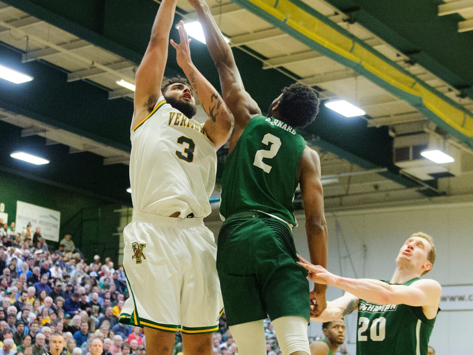 Vermont's Anthony Lamb goes up for two during the America East semifinal game between the Binghamton Bearcats and the Vermont Catamounts at Patrick Gym on Tuesday March 12, 2019 in Burlington, Vermont.
