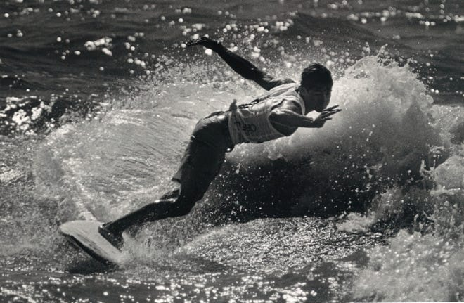 Jimmy Curry of Corpus Christi advanced to the second round of elimination on April 18, 1987 at J.P. Luby Surf Park during the fourth annual Off Shore/Raisins Texas Pro Am Surfing Classic in Corpus Christi.