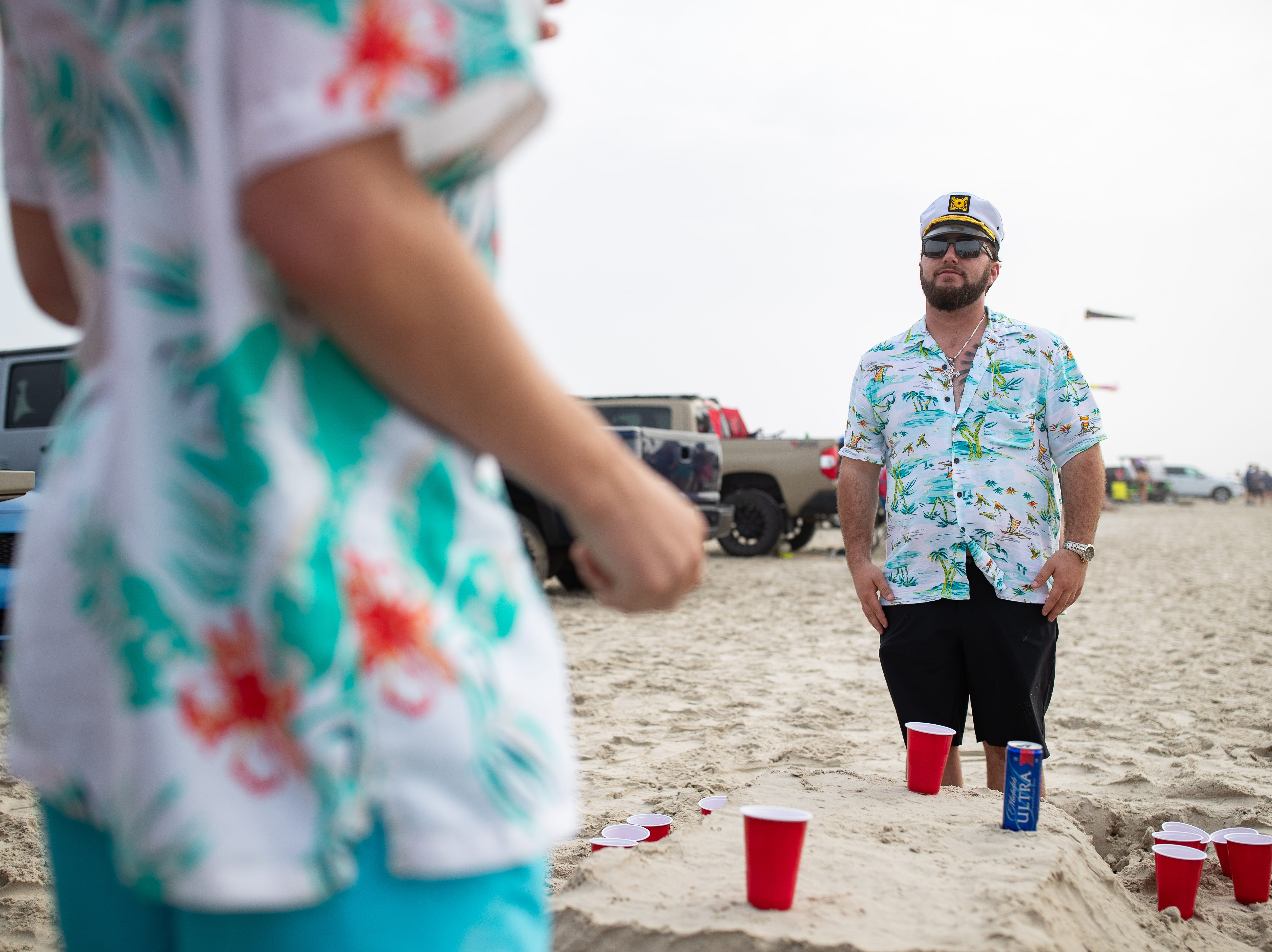 People party on the beach in Port Aransas during spring break 2019 on Tuesday, March, 12, 2019.