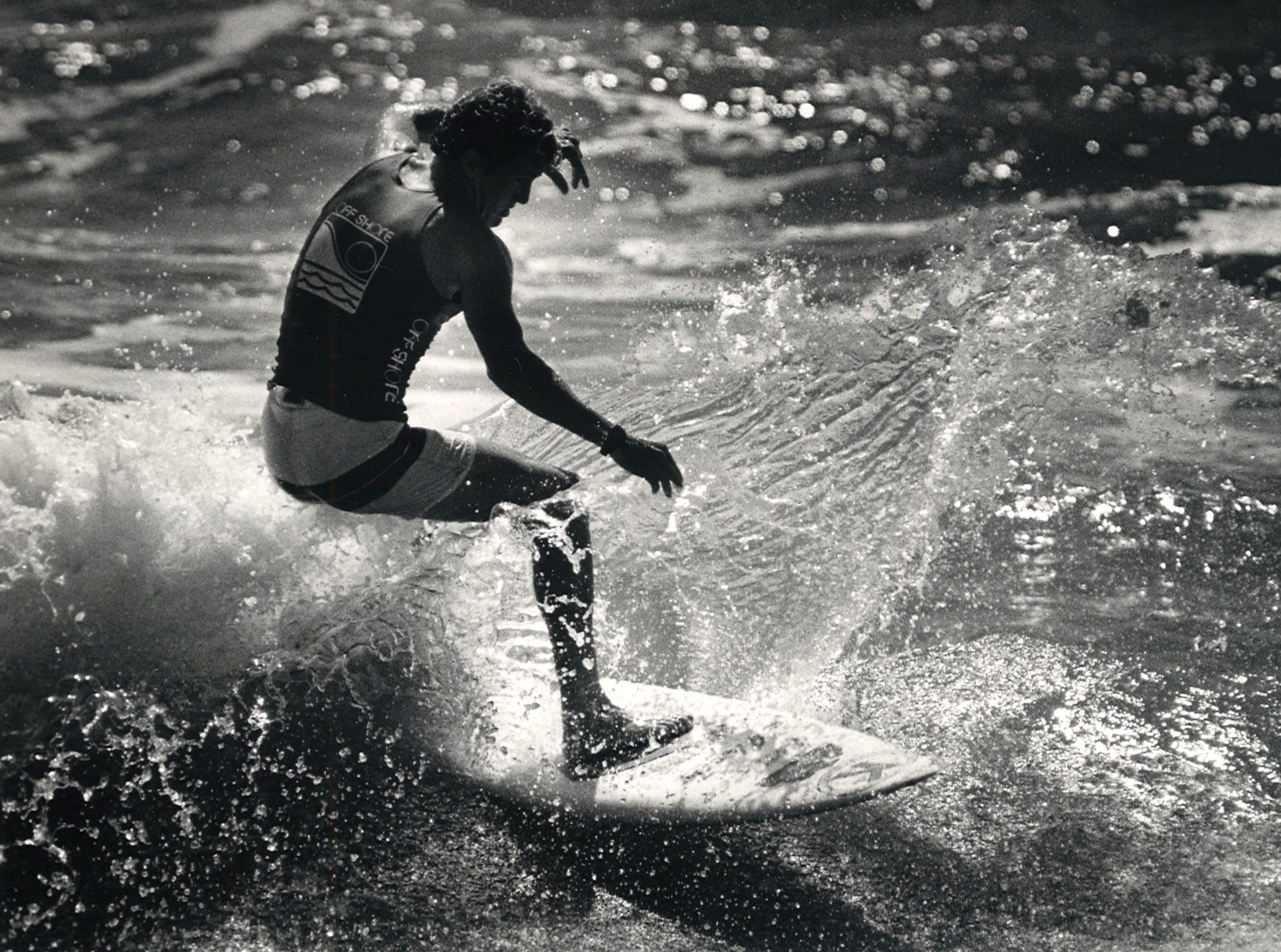 Pro surfer Matt Kechele of Cocoa Beach, Florida during his first heat at the Off Shore/Raisins Texas Pro Am Surfing Classic on April 18, 1987.