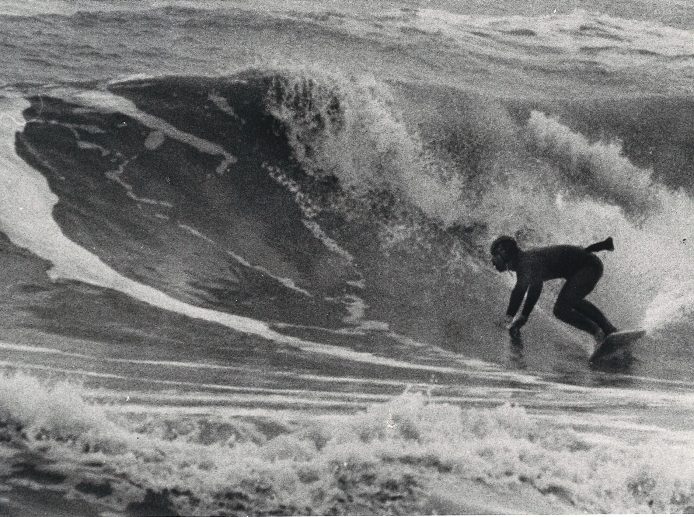 Jessie Andrews surfs in Corpus Christi in February 1978.